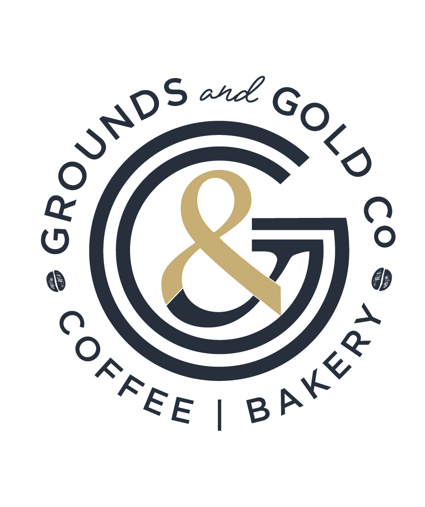 grounds and gold coffee shop logo